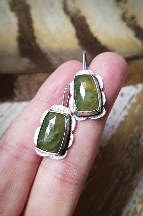 Faceted Green Sapphire and Sterling Earrings