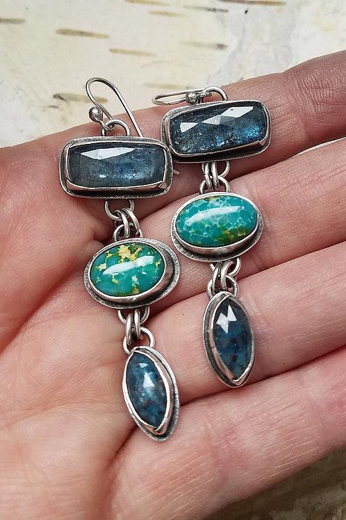 Handmade Kyanite and White Water Turquoise Folded Bezel Totem Earrings