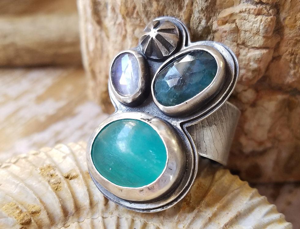 grandiderite, blue beryl, amazonite riverbed ring-sz 9 adjustabl