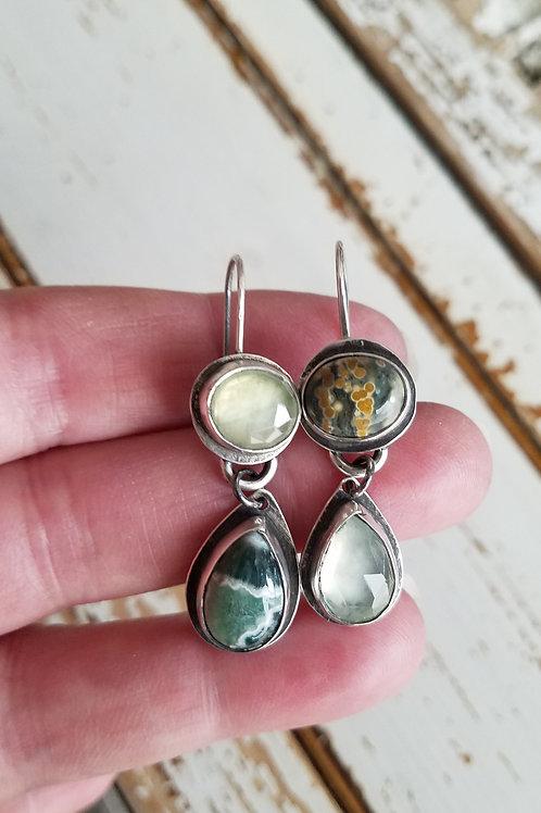 Ocean Jasper and Prehnite Folded Bezel Earrings