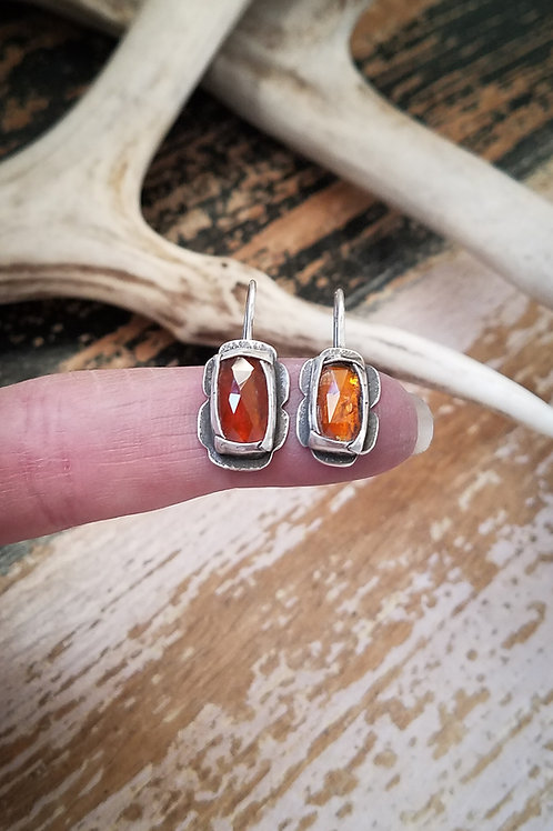 Orange Kyanite Folded Bezel Earrings