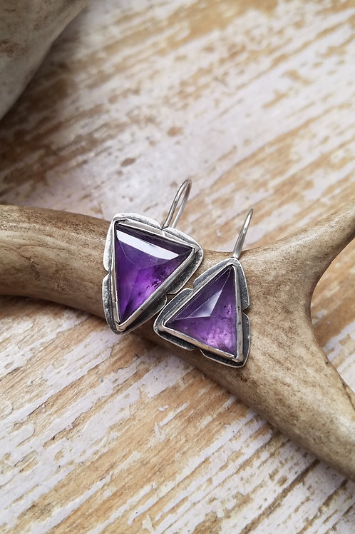 Geometric Faceted Amethyst Folded Bezel Earrings