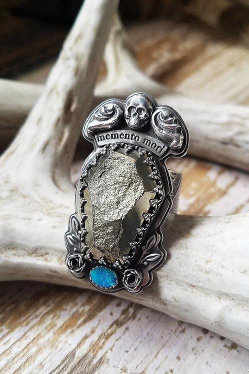 Memento Mori sterling, pyrite and opal handmade ring