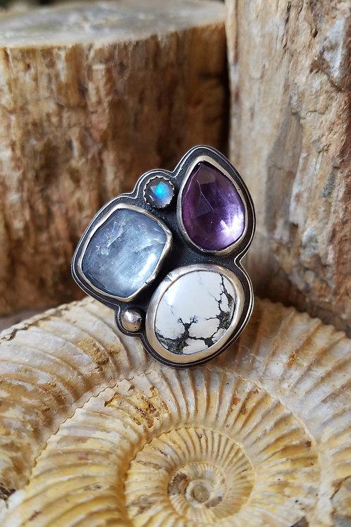 amethyst, blue beryl, ivory creek variscite riverbed ring-sz 8 1/2 adjustabl