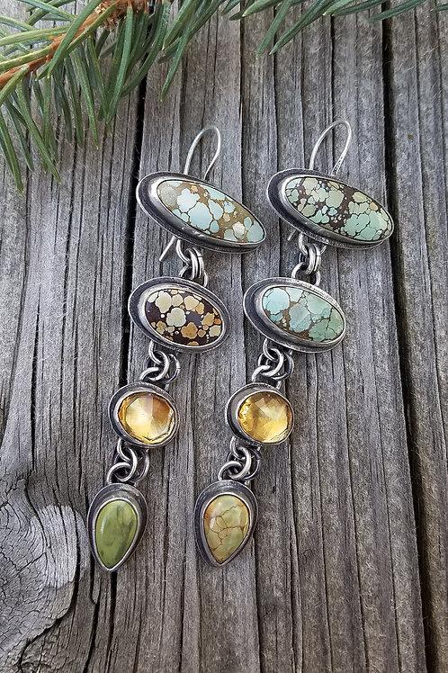 Handmade Hubei Turquoise and Citrine Totem Earrings