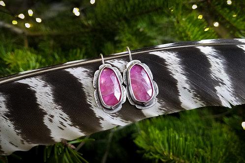 Pink Sapphire Folded Bezel Earrings