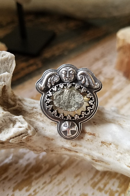 Memento Mori sterling and pyrite winged effigy with cross handmade ring 2