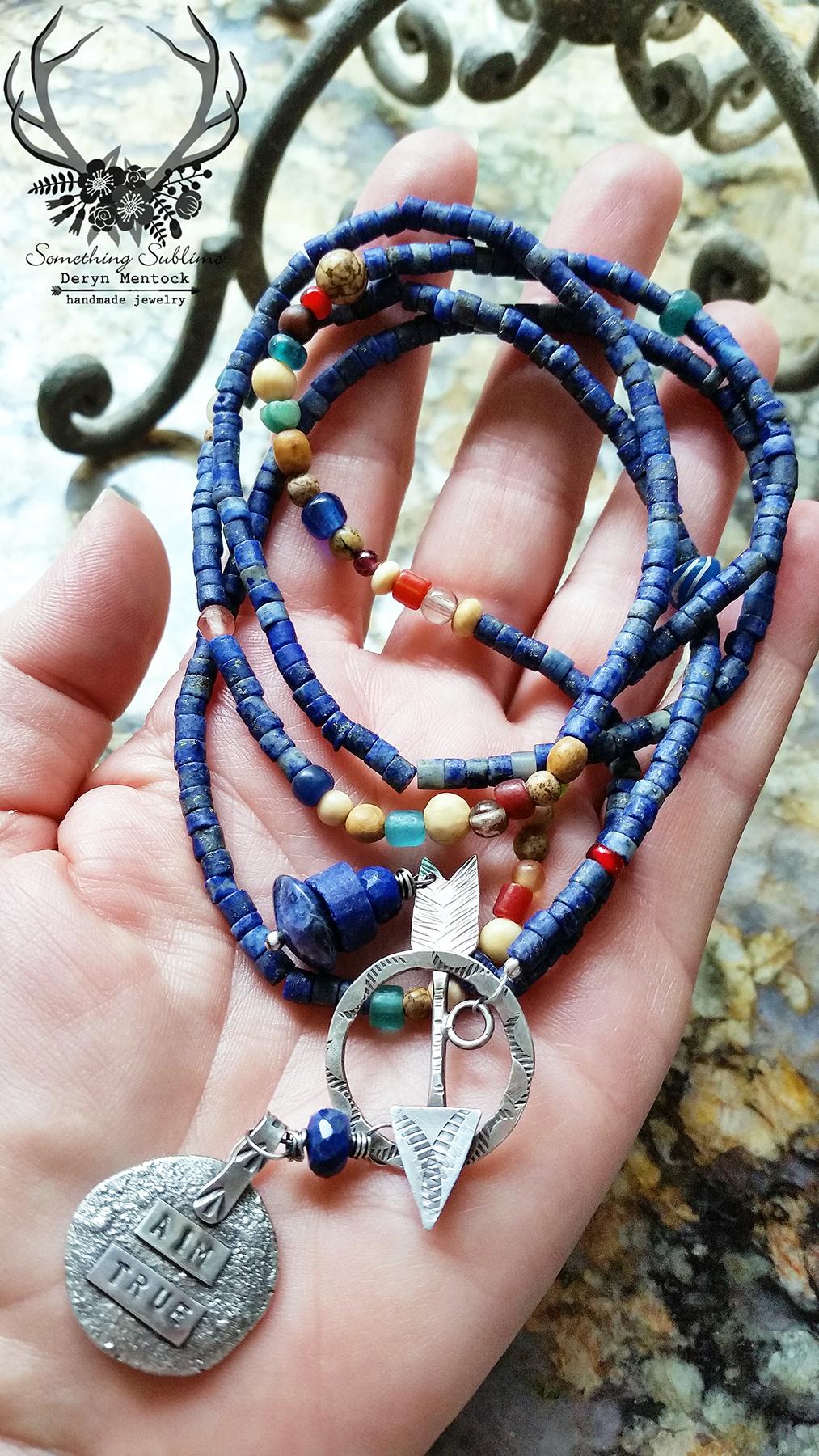 affirmations necklace lapis