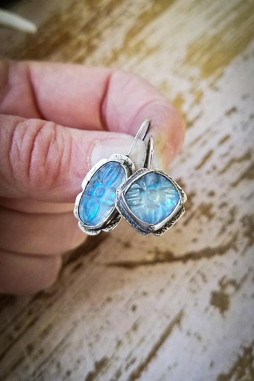 Mughal Carved Rainbow Moonstone Folded Bezel Earrings