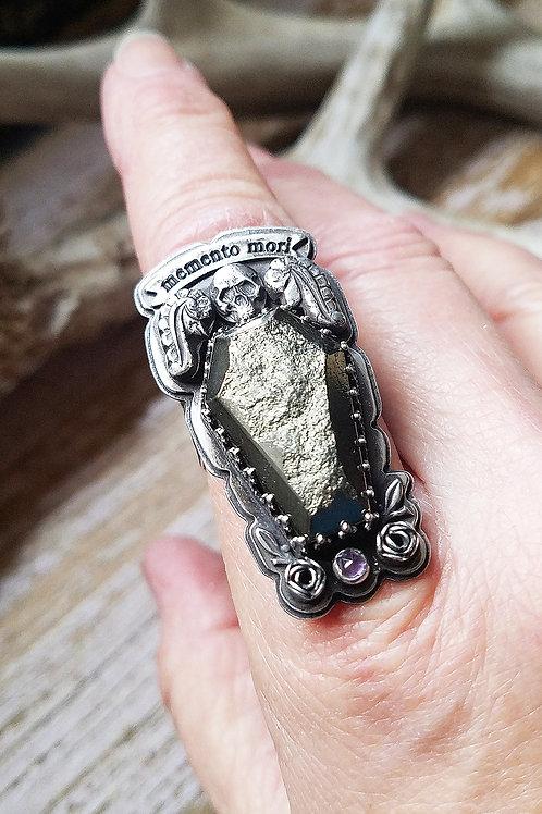 Memento Mori sterling, pyrite and amethyst handmade ring