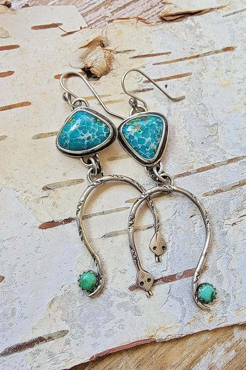 Handmade White Water Turquoise Rainbow Serpent Earrings