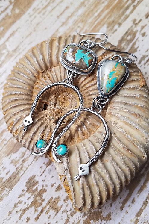 Handmade Royston Ribbon Turquoise Rainbow Serpent Earrings