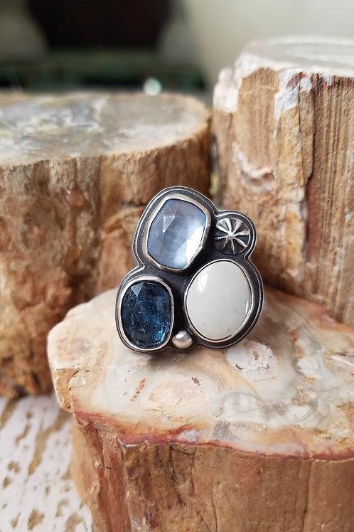 kyanite, blue beryl, variscite riverbed ring-sz 7 1/2 adjustable