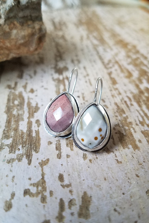 Faceted Ocean Jasper Folded Bezel Earrings