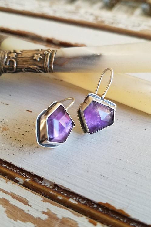 Geometric Faceted Amethyst Folded Bezel Earrings
