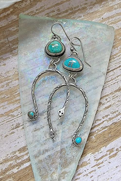 Handmade Tyrone Turquoise Rainbow Serpent Earrings