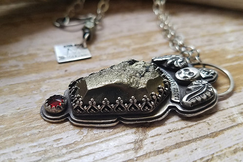Memento Mori sterling and pyrite handmade necklace