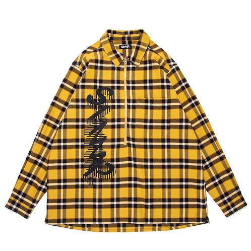SIMMP. Front Zippered Checkered Shirt Yellow/Black