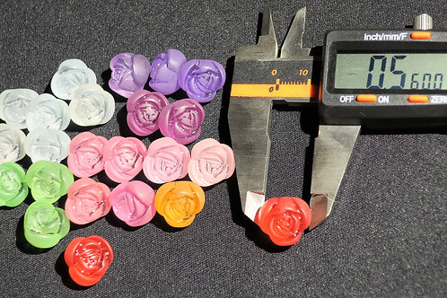 24 pcs Frosted acrylic rose flower beads Assorted pastel colors 14.22x11.74mm