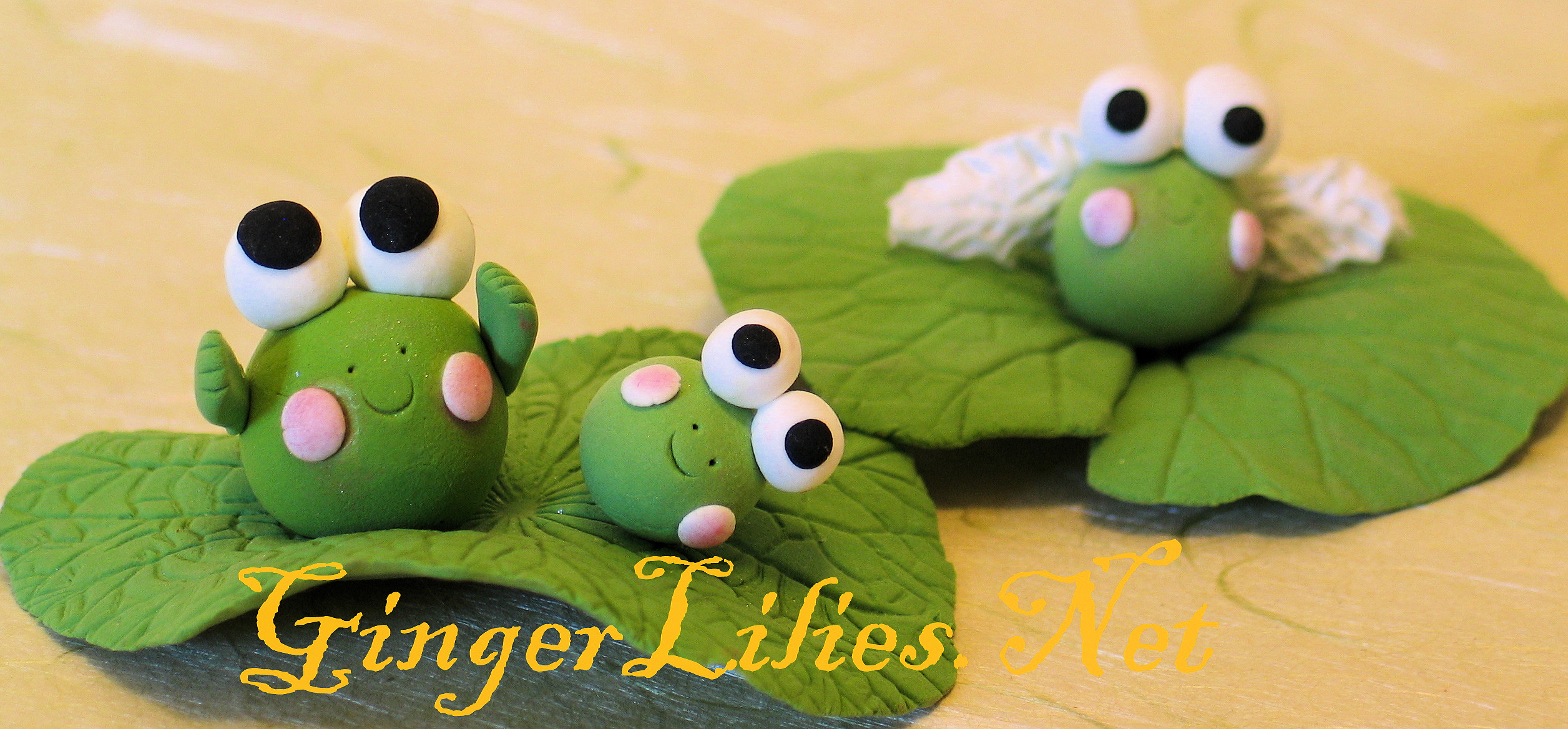 Handmade Clay Frogs on Lotus Leaves