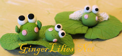 Handmade Clay Frogs on Lotus Leaves