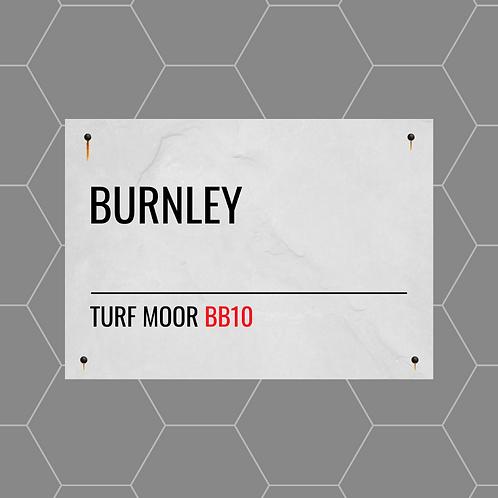 Burnley Street Sign A6 Gloss Paper Magnet