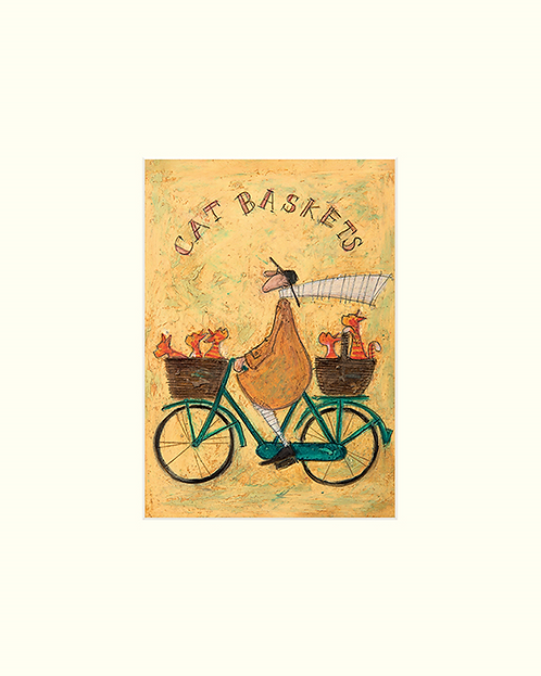 Cat Basket 24x30cm Mounted Print