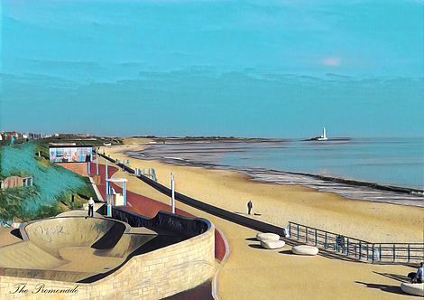 The Promenade II Whitley Bay A5 Gloss Paper Magnet