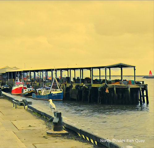 North Shields Fish Quay 30x30cm Mounted Art Print