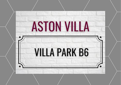 Aston Villa Brick Sign A6 Gloss Paper Magnet