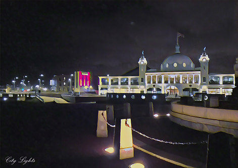 City Lights Whitley Bay Greeting Card