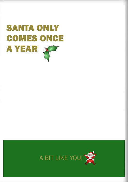 Santa Only Comes Once A Year Bit Like You Fridge Magnet