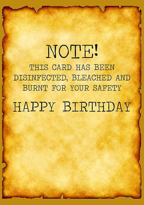 This Card Has Been Disinfected, Bleached And Burnt For Your Safety Greeting Card