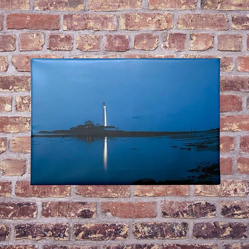 Lighthouse At Dusk Handmade Canvas