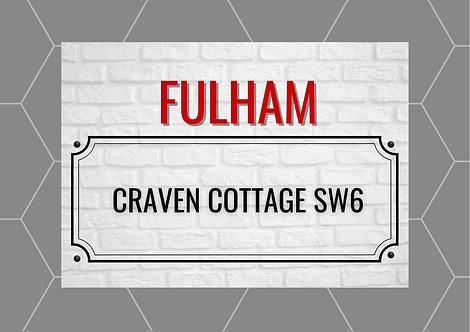 Fulham Brick Sign A6 Gloss Paper Magnet