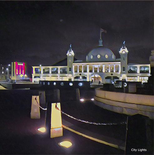 City Lights 30x30cm Mounted Art Print