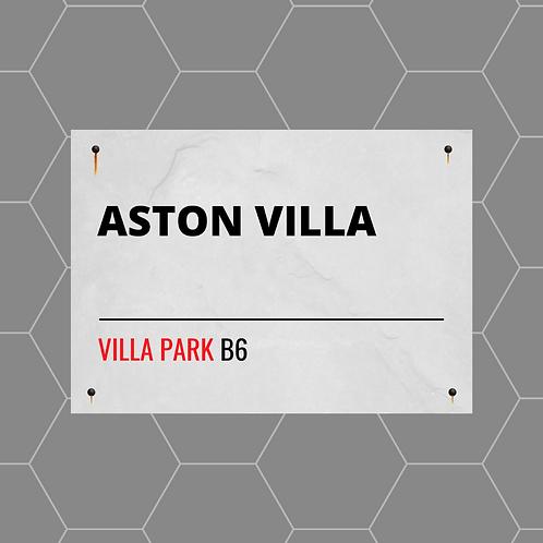 Aston Villa FC Street Sign A4 Gloss Paper Magnet