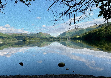 Grasmere With Oil Paint Finish Photographic Greeting Card