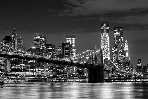 Brooklyn Bridge & Manhattan Skyline At Night 40x50cm Art Print
