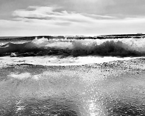 Aqua Black & White 40x50cm Art Print