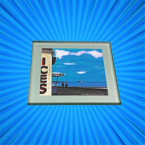 Rendezvous Blue Glass Coaster