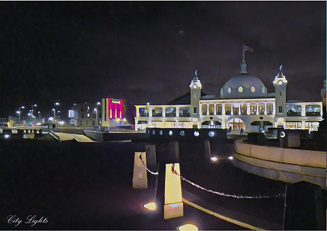 City Lights Whitley Bay A6 Gloss Magnetic Print