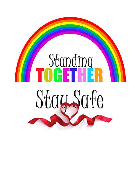 Standing Together Stay Safe With Heart Ribbon Greeting Card