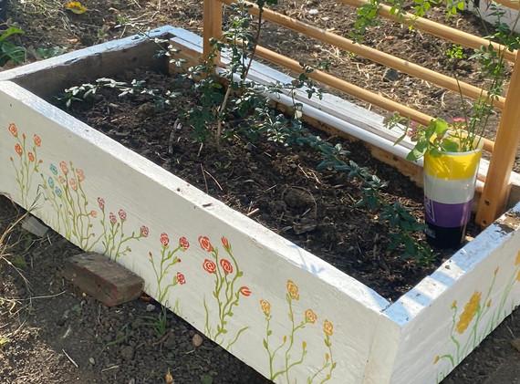 Hand painted planter by Karen Huggins