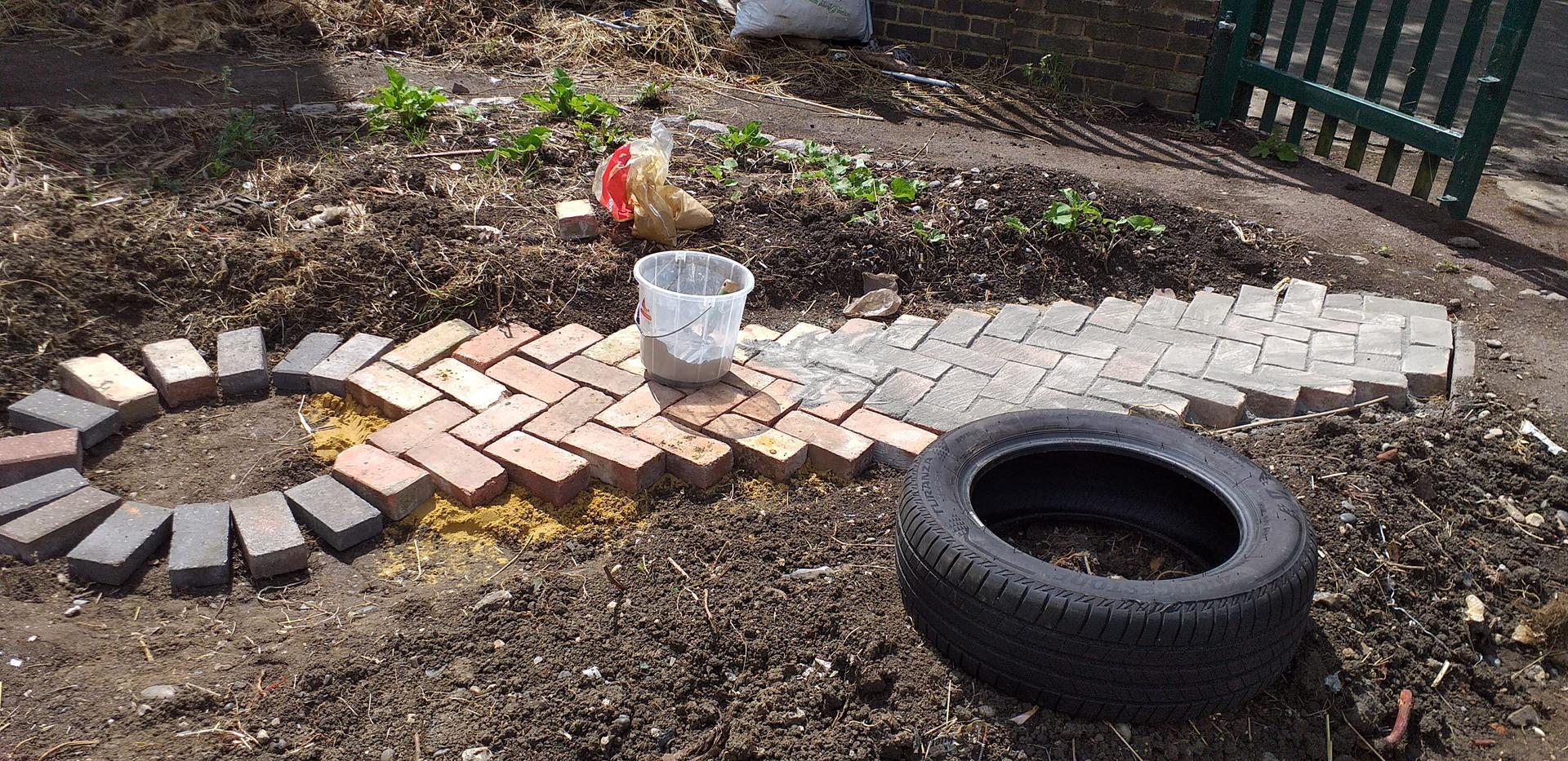 Cementing brick path