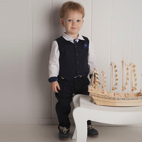 NAVY kisfiú szett esküvőre keresztelőre (nadrág + mellény)