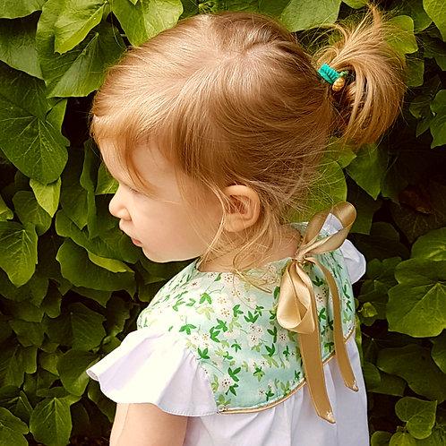 Különleges, elegáns virágos fehér kislány blúz