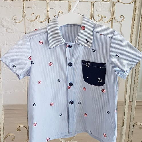 NAVY, Short Sleeve Shirt for Baby Boy