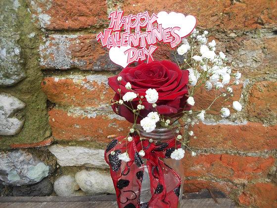 Single rose in bud vase.