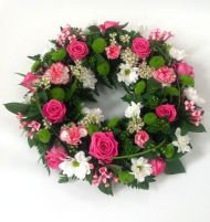 White and Pink Wreath - Large